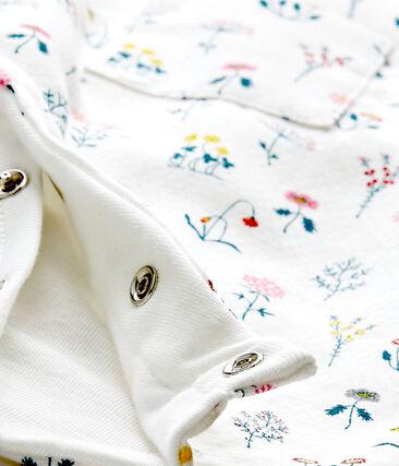 Bedruckter Baby-Mädchen-Overall aus gedoppeltem Jersey weiss Lait / weiss Multico