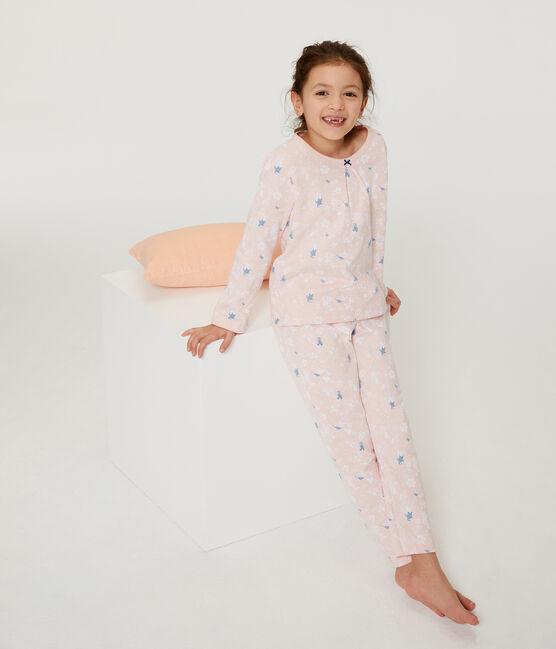 Rosa Pyjama mit Pinguin-Muster aus Doubleface-Jersey für kleine Mädchen rosa Minois / weiss Multico
