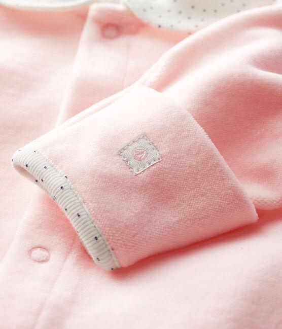 Rosa Baby-Strampler aus Samt mit Kragen für Mädchen FLEUR
