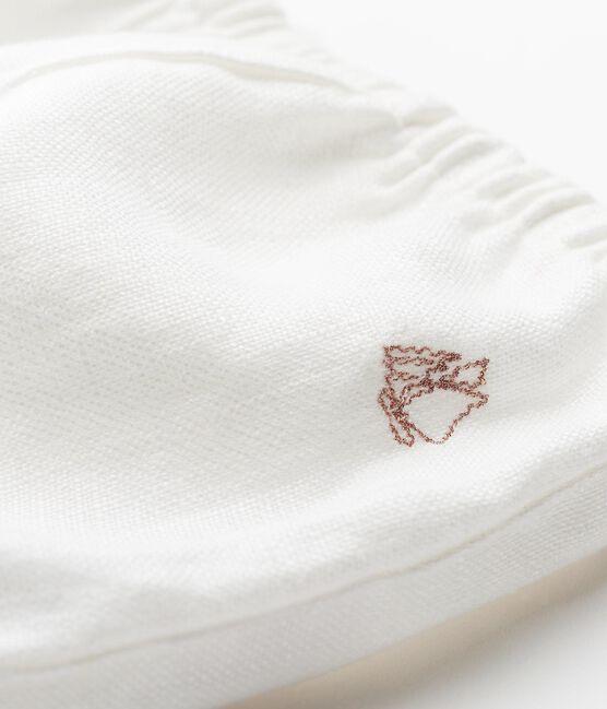 Baby-bloomer-höschen aus leinen mädchen weiss Marshmallow