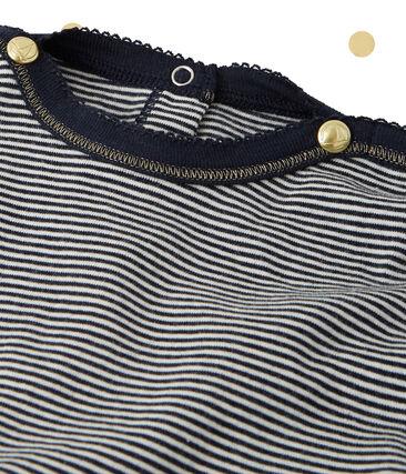 Mädchen-Langarmkleid im 2-in-1-Effekt Petit bateau x Marie-Agnès Gillot blau Smoking / beige Coquille