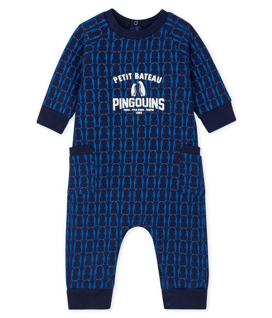 Langoverall aus Molton für Baby Jungen blau Smoking / weiss Multico