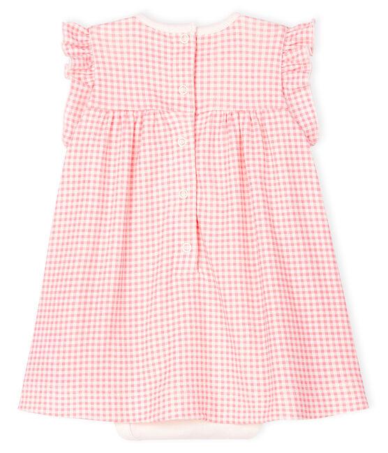 Bodykleid mit rosa Vichymuster aus Rippstick für Mädchen weiss Marshmallow / rosa Gretel