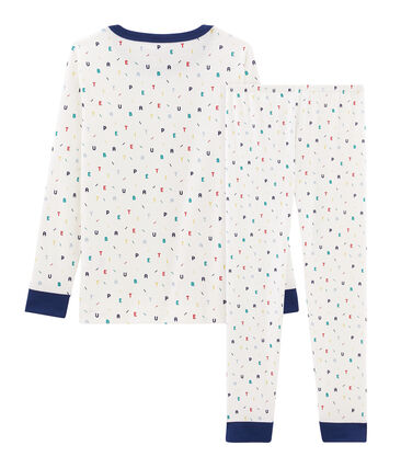 Sehr eng anliegender Rippstrick-Pyjama für kleine Jungen weiss Marshmallow / weiss Multico