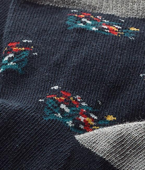 Mädchen-Socken mit Blumenmotiv blau Smoking / weiss Multico