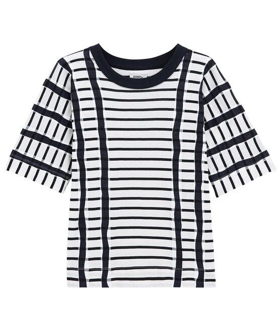 T-Shirt mit Kimono weiss Marshmallow / blau Smoking