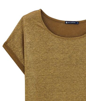 damen-kurzarmshirt aus schimmerndem leinen