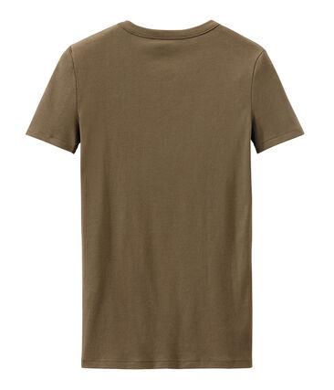 Damen-T-Shirt aus Original-Rippstrick braun Shitake
