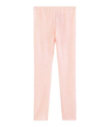 Leggings aus Wolle und Baumwolle für Kinder rosa Charme / weiss Marshmallow