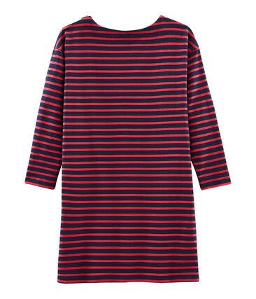 Langärmliges Kleid für Damen blau Smoking / rot Signal