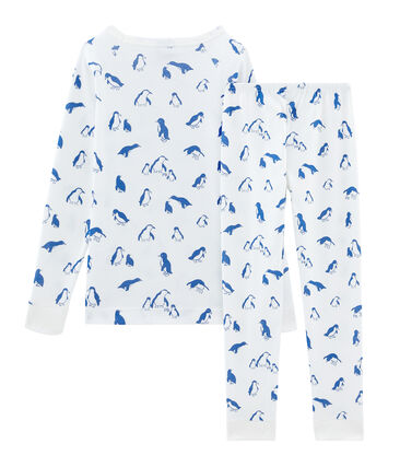 Sehr eng anliegender Rippstrick-Pyjama für kleine Jungen weiss Marshmallow / blau Major