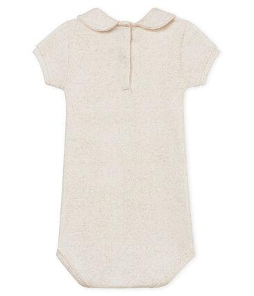 Kurzärmeliger baby-body mit glänzendem bubikragen mädchen weiss Marshmallow / rosa Copper