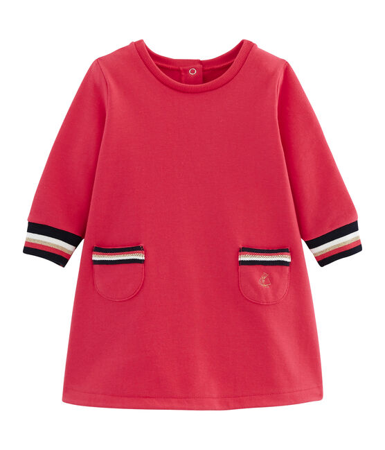 Langärmeliges Babykleid für Mädchen rot Signal