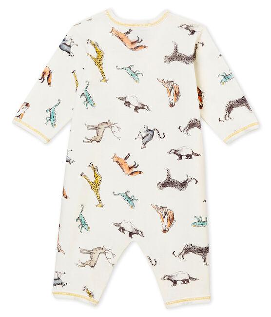 Baby Jungen Strampler ohne Fuß. weiss Marshmallow / weiss Multico