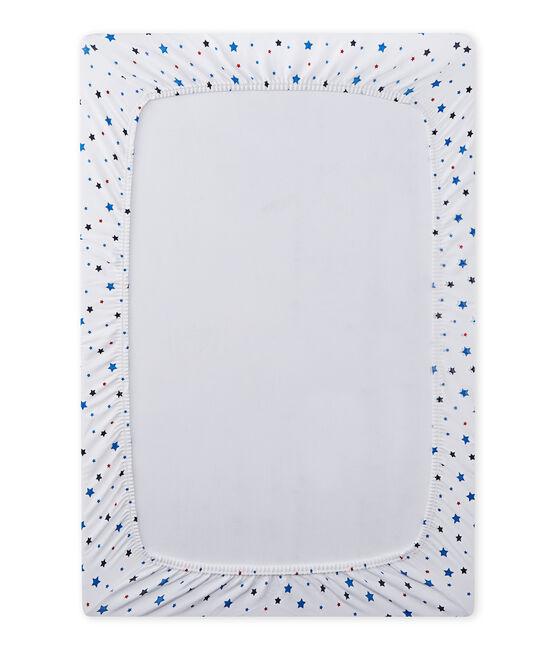 Baby-Jungen-Spannbetttuch mit Sternen-Print weiss Ecume / weiss Multico