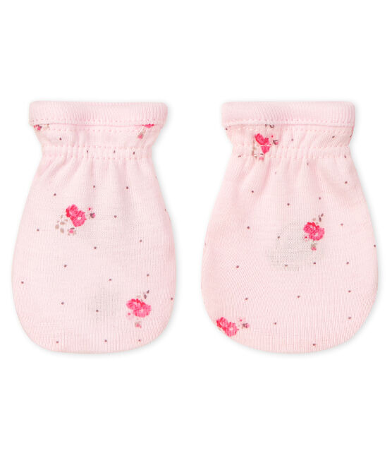 Babyfäustlinge aus Rippstrick rosa Vienne / weiss Multico