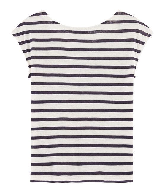 T-Shirt aus Leinen für Damen weiss Marshmallow / blau Medieval