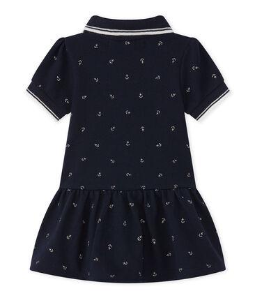 Baby Mädchen Kleid blau Smoking / weiss Feta