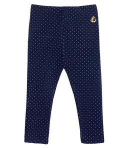 Gemusterte Baby-Legging mit Volants für Mädchen blau Smoking / weiss Marshmallow
