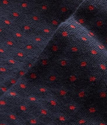 Gepunktete Mädchen-Strumpfhose blau Smoking / rot Froufrou