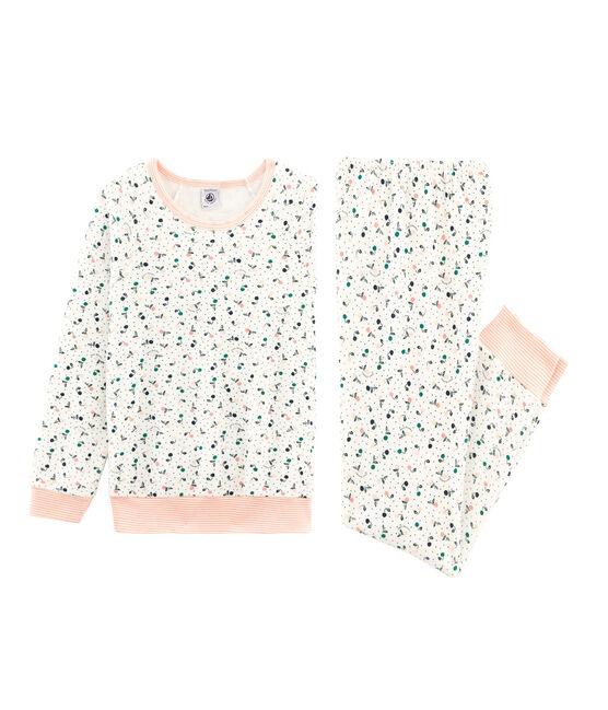 Pyjama aus aufgerautem Frottee für kleine Mädchen weiss Marshmallow / weiss Multico