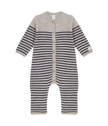 Langer Baby-Overall aus 100% Kaschmir grau Subway / blau Smoking