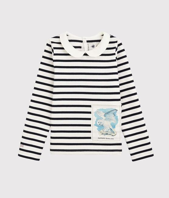 Kinder-Streifenshirt für Mädchen Petit Bateau x Deyrolle weiss Marshmallow / blau Smoking
