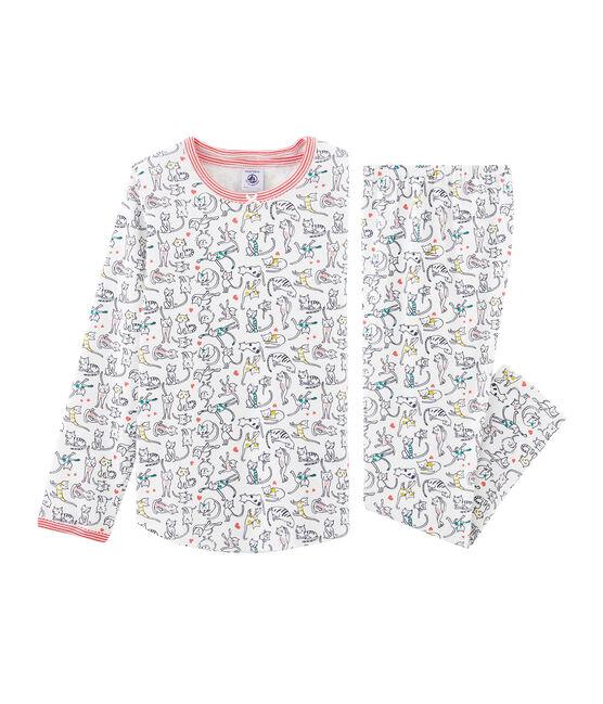 Rippstrick-Pyjama für Mädchen weiss Marshmallow / weiss Multico