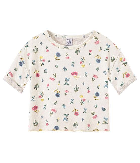 Bedrucktes Mädchen-T-Shirt aus gedoppelten Jersey weiss Marshmallow / weiss Multico