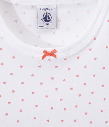 Mädchen-Nachthemd mit Herzchen-Print weiss Ecume / rosa Rose