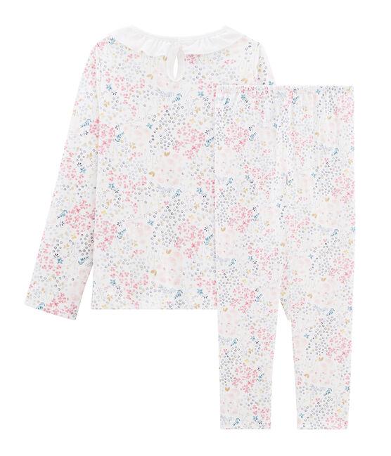 Pyjama aus Doppeljersey für kleine Mädchen weiss Marshmallow / weiss Multico