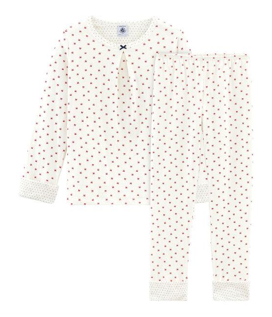 Pyjama aus Doppeljersey für kleine Mädchen weiss Marshmallow / rot Terkuit