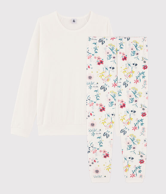 Mädchen-Pyjama mit Blumenmuster aus zwei verschiedenen Stoffen weiss Marshmallow / weiss Multico