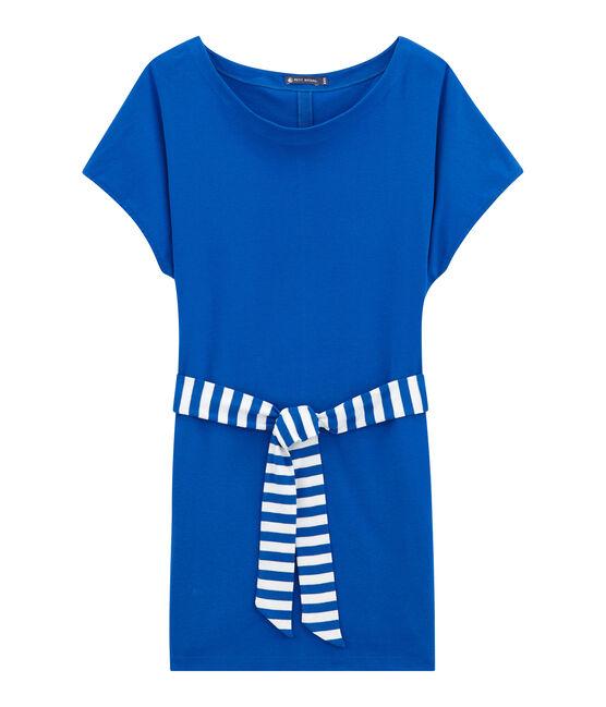 Damen-strandkleid blau Perse