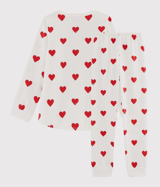 Pyjama aus Molton mit Herzchen-Print für Kinder weiss Marshmallow / rot Terkuit