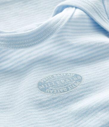 Kurzärmeliger Baby-Body für Jungen-Mädchen blau Fraicheur / weiss Ecume