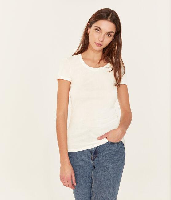 T-Shirt aus Sea-Island-Baumwolle für Damen weiss Marshmallow
