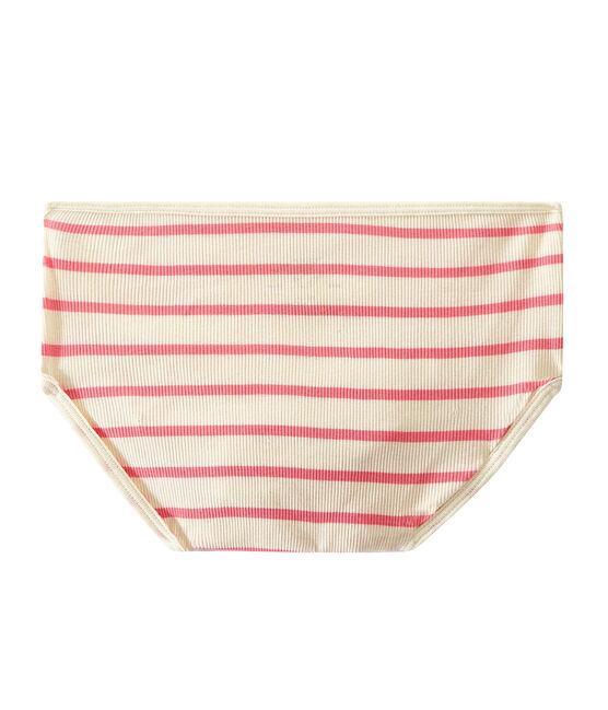 Highwaist Unterhose aus Ripp 2x2 beige Coquille / rosa Petal