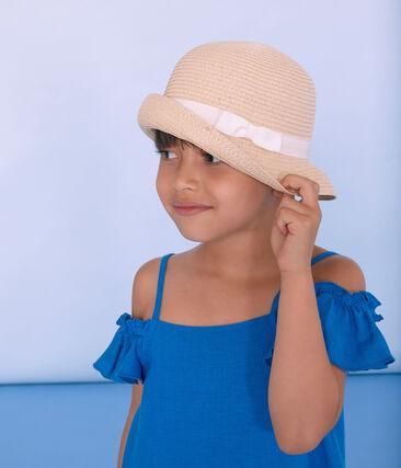 Kinderstrohhut für Mädchen rosa Naturel