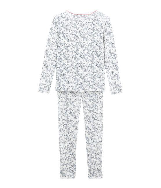 Eng anliegender Mädchen Schlafanzug weiss Marshmallow / weiss Multico