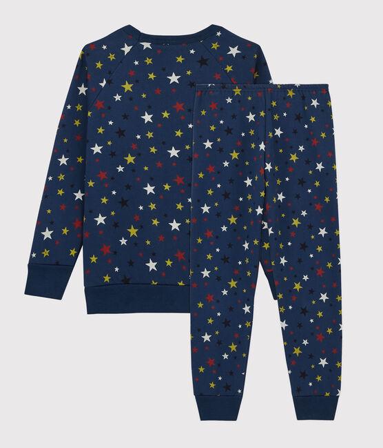 Kinder-Pyjama mit Sternenmuster aus Fleece blau Medieval / weiss Multico