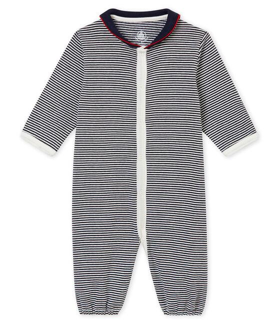 Baby Jungen Overall aus 1x1 Rippstrick mit Milleraies Ringelmuster blau Smoking / weiss Marshmallow