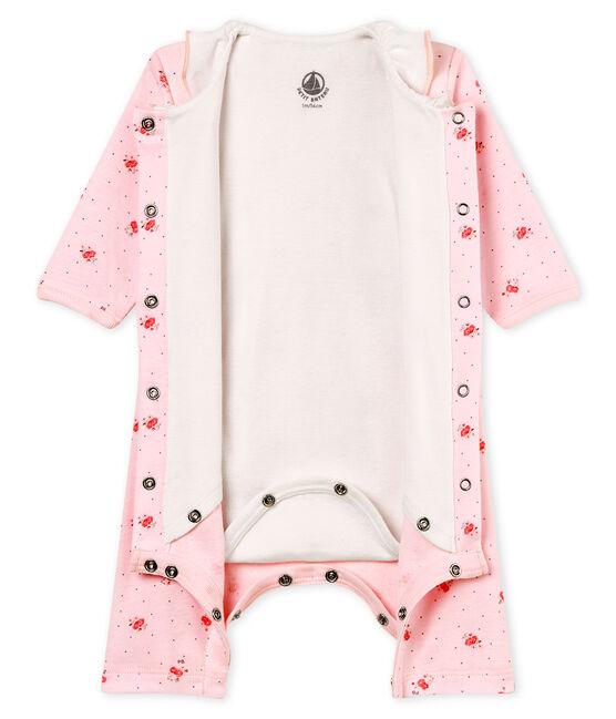 Gemusterter baby-bodyjama ohne füsse mädchen 1x1-gerippt rosa Vienne / weiss Multico