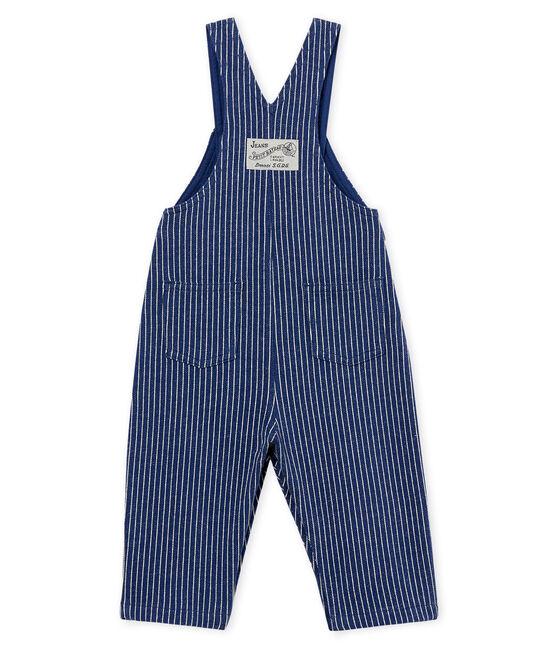 Lange gestreifte strick-baby-latzhose jungen blau Smoking / weiss Marshmallow