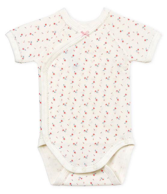 Kurzärmeliger Neugeborenen-Baby-Body für Mädchen weiss Marshmallow / weiss Multico