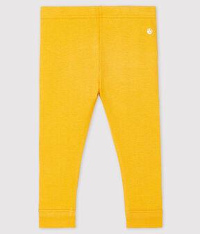Einfarbige Baby-Legging aus 1x1-Rippstrick für Mädchen gelb Boudor