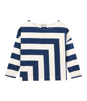 Streifenshirt Damen blau Medieval / weiss Marshmallow