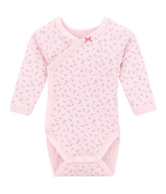 Langärmeliger Baby-Mädchen-Wickelbody mit Print rosa Vienne / weiss Multico