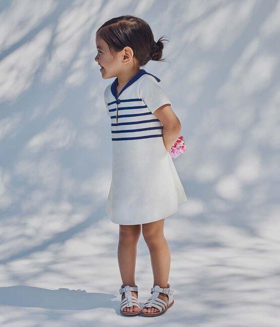 Gestreiftes Baby-Mädchen-Kleid aus schwerem Jersey weiss Marshmallow / blau Smoking