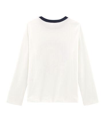 Langärmliges T-Shirt mit Siebdruck für Jungen weiss Marshmallow